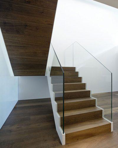 Walnut laminate stairs