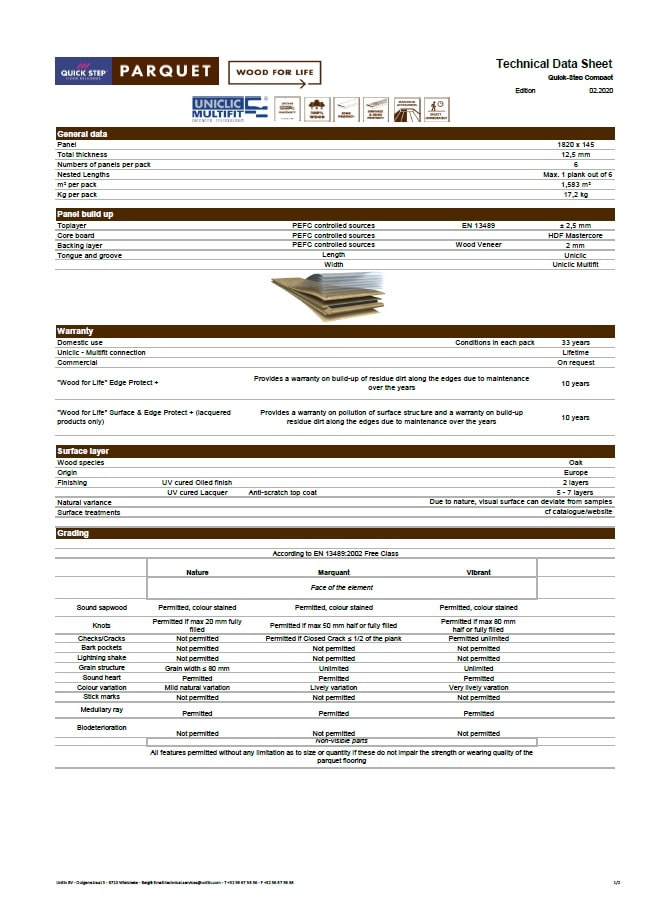 compact parket specifikacija